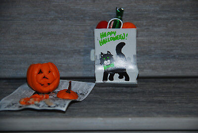New Handcrafted Halloween Black Cat Gift Bag /Pumpkin Carving #68 Free Shipping (Halloween Pumpkin Cat Carving)