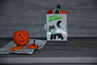 New Handcrafted Halloween Black Cat Gift Bag /Pumpkin Carving #68 Free - Black Cat Halloween Pumpkin Carving