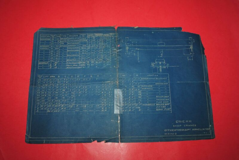 1927 Erie RR Blueprint Listing of System Shop Cranes