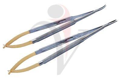 2ps Castroviejo Micro 18cm Needle Holder Straightcurved Surgical Dental Eye Set