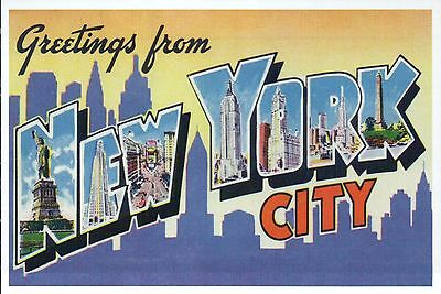 Greetings from New York City, Statue of Liberty etc Modern Large Letter Postcard