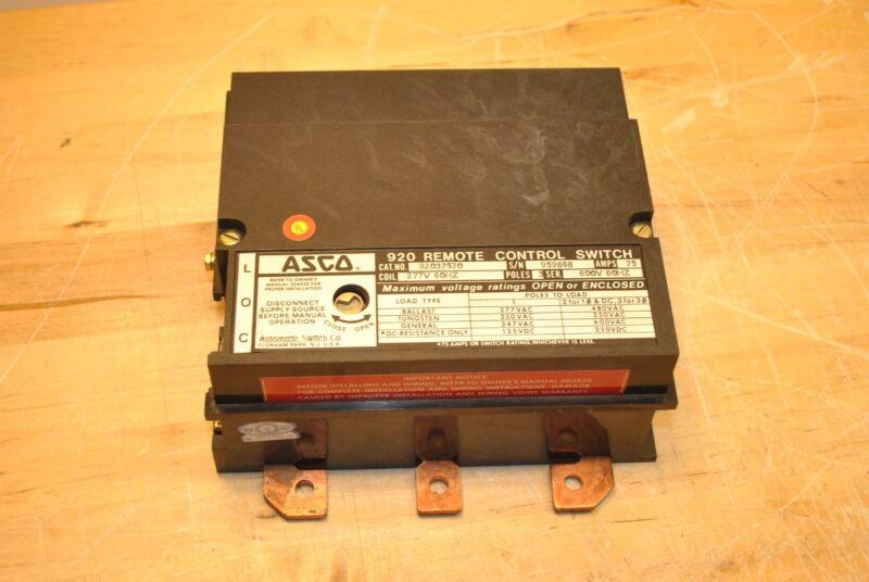 Asco 920 3 Pole contactor 75 amp 92037570 277V coil