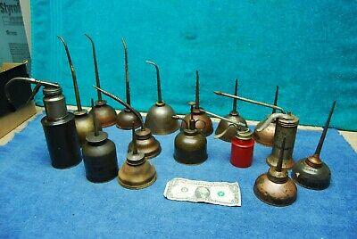 Huge 16pc Vintage Copper Oil Oiler Cans Eagle Gem Plews etc Gas Oil Collectibles
