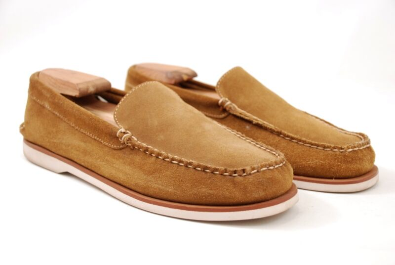 eb7564308d7 Brooks Brothers Hand Sewn Tan Suede Leather Slip-On Loafers Rubber Soles  9.5D