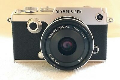 Olympus Pen F Compact System Camera, 17mm f1.8 Lens, Silver, HD 1080p, 20.3MP