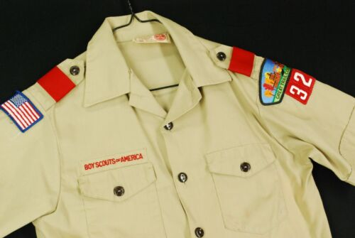 Boy Scouts of America Button Up Uniform Shirt Youth Boys L Beige Ohio