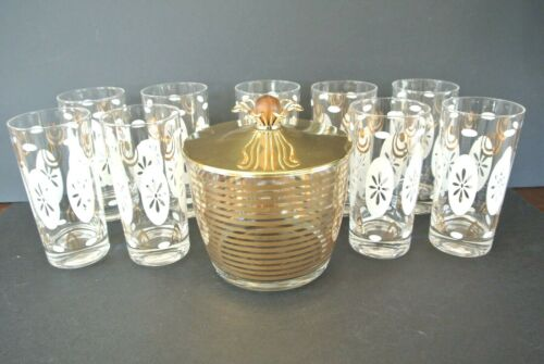 Mid Century Modern White & Gold Atomic Starburst High Ball Glasses w/ Ice Bucket