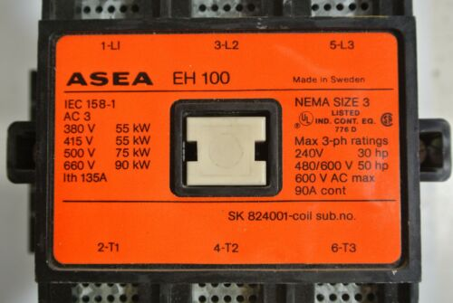 ASEA EH100  ABB 3 pole size 3 Contactor 600VAC 90A   110v coil  TESTED