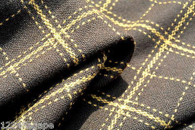 D23 DARK BROWN & LIGHT TAN PLAID CHECK WOOL & CASHMERE BLEND MADE IN ITALY for sale  Shipping to United States