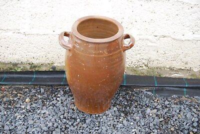 E1 Ancien pot en grès brun, sel - H +- 40 cm