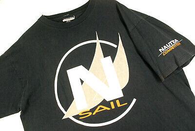 Vintage 90s Nautica Competition Big Logo T Shirt Navy Blue Mens XL Oversize USA