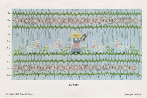 Little BO PEEP Sheep SMOCKING DESIGN Plate by Ellen McCarn ©1982 Embroidery