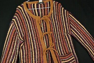 Vintage 70s Pierre Cardin Striped Cardigan Sweater Hippie Rainbow Indie Womens