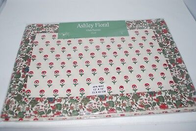 Happening Ashley Floral Placemats Cloth Mats Red Blue Green Floral Provence x4 NEW