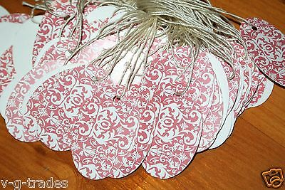 Lot 200 Oval Pink Damask Print 1 X 1 58 Merchandise Price Tags Strung