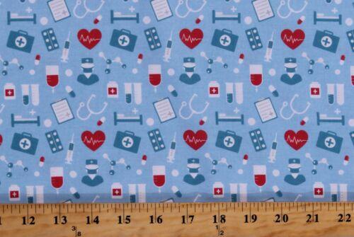 Cotton Medical Equipment Nurses Hospital Cotton Fabric Print by the Yard D511.46