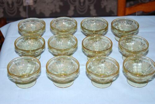 Set of 12 Federal Glass Amber Depression Sherbet Cups Rose Pattern
