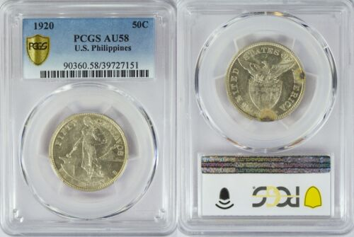 1920-(M) US/Philippines 50 Centavos ~ PCGS AU58 ~ Silver ~ Allen#14.09 ~ 151
