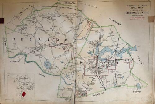 ORIGINAL 1908 MIDDLESEX COUNTY, MASSACHUSETTS SHERBORN NATICK PLAT ATLAS MAP