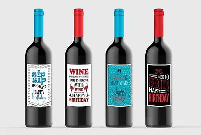 Wine bottle Labels Birthday Party Celebration Custom for Four (4) Bottles 4.2...