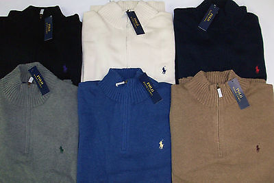 Polo Ralph Lauren 1/2 Half-Zip Knit Cotton Mock Neck Sweater  $125 PONY Logo NWT Half Zip Logo Sweater