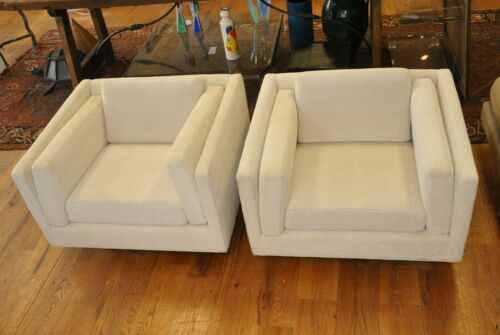 BAUGHMAN MILO STYLE Mid Century Modern Pair of Cube Chairs