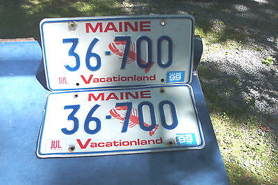 pair low numbered Maine lobster license plates 1999