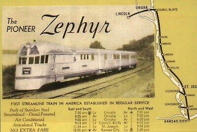 Burlington Pioneer Zephyr Schedule & Map of Train Rt Railroad Omaha etc Postcard