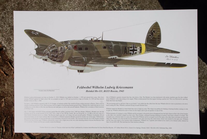 He-111, Signed by Luftwaffe Pilot, Aviation Art, Ernie Boyette