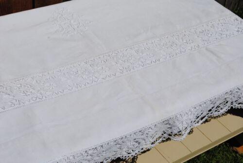 ANTIQUE FRENCH LINEN COTTON WHITE SHEET HANDMADE BOBBIN LACE AND MONOGRAM XL