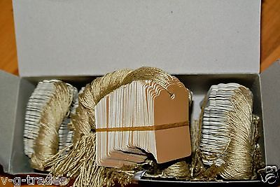 Lot 100 Scalloped Kraft Print 1 X 1 58 Paper Merchandise Price Tags With String