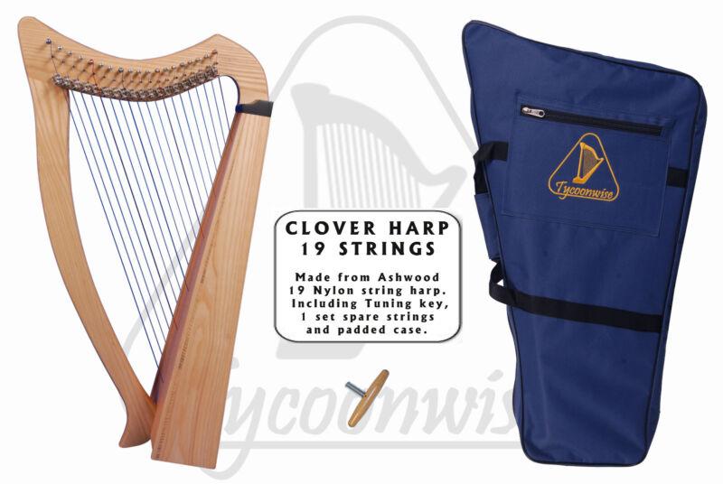 Tycoonwise | 19 Strings Ashwood Irish Harp, Carry bag & Tuner |