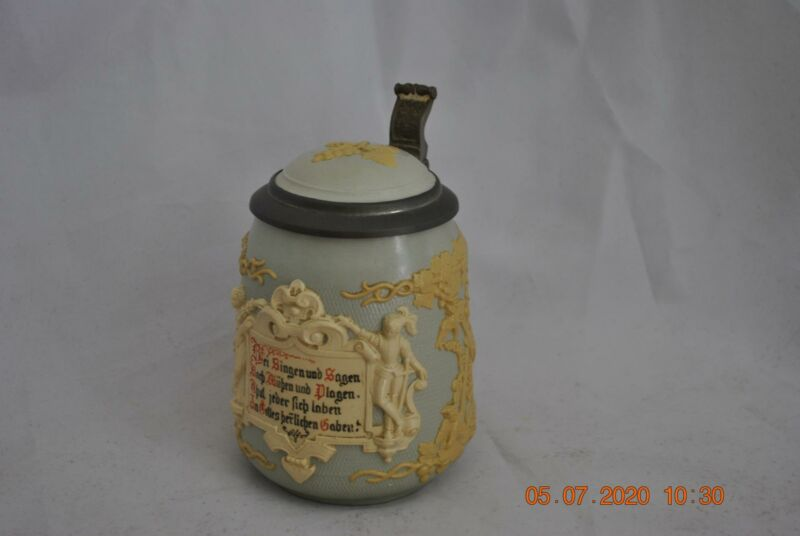 Mettlach #1370 Stein with Early Mercury Mark