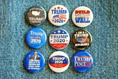 """Donald J TRUMP Pence 2020 Pin Pinback Button 1"""" Build the wall MAGA  LOT"""