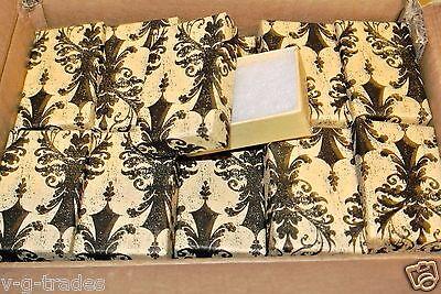 Lot Of 10 Damask Print Cotton Filled Jewelry Gift Boxes 2 12 X 1 12 Box