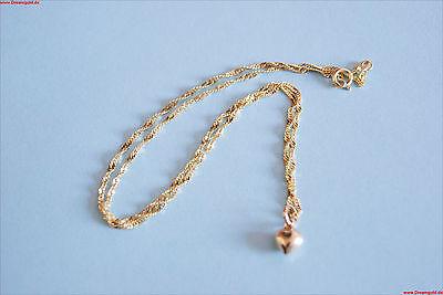 Neuware 585 echt Gold Baby Kinder Kette mi Herz Anhänger 14 Karat Goldkette