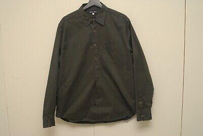 ALEX MILL dark green popover long sleeve shirt L stiff cotton