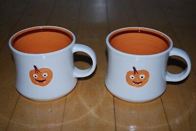 Two Starbucks 2006 Pumpkin Face Coffee Mugs Vampire Fangs Halloween Orange - Halloween Coffee Mugs Starbucks
