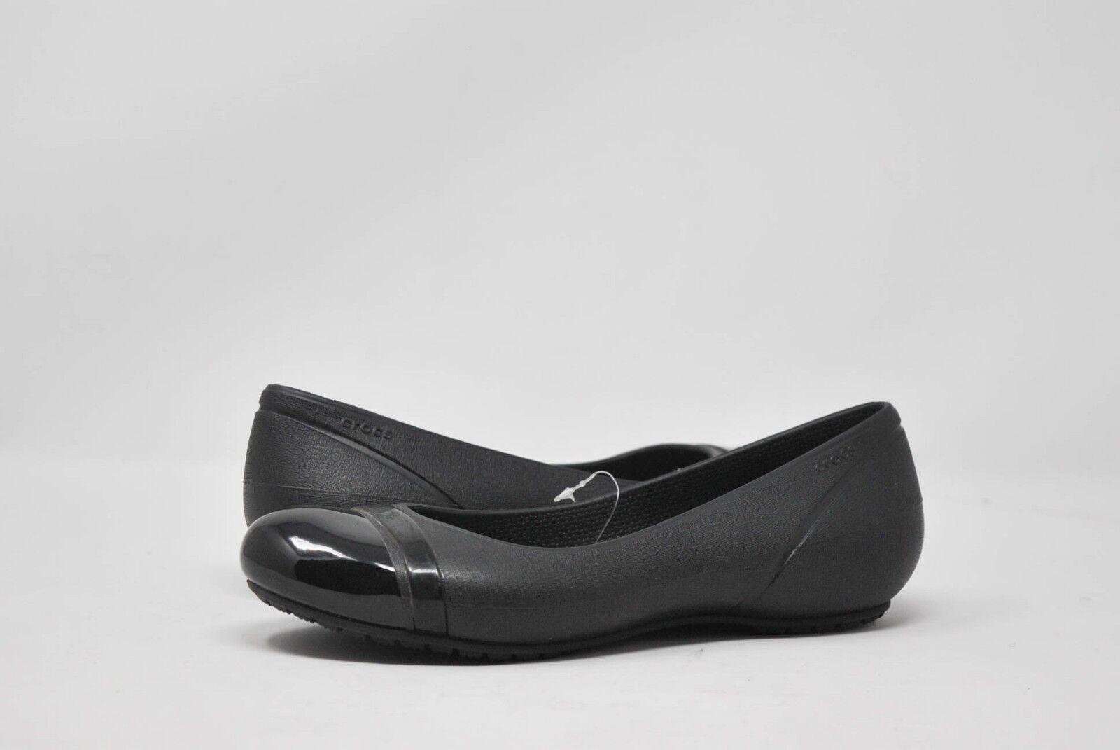 Croc's Women's Cap Toe Flat 12300-060-420 in Black NEW