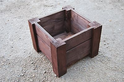 Wooden Square Pot, Set of Two, 35 x 35 x 30 cm of Solid Wood - Rusty Color