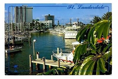 Fort Lauderdale Florida Postcard Bahia Mar Yacht Basin Hotel Waterway Boats Dock