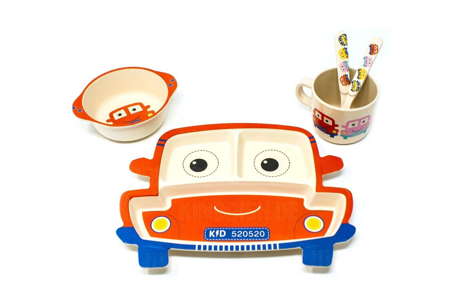 Kindergeschirr Babygeschirr Set Bambus 5-tlg Service TRUCK