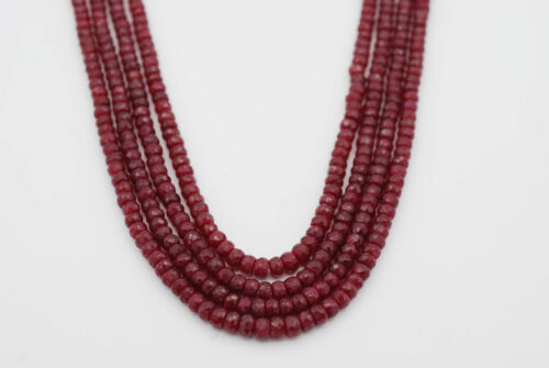 4mm Faceted Dyed Ruby Rondelle Bead, approx. 350 ct. per strand