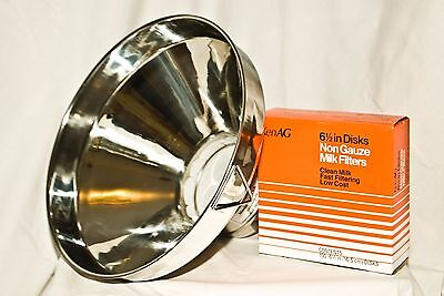 New Large Stainless Steel Milk Strainer 13 Inch Seamless. With Filters Combo