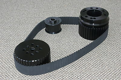 BLACK SMALL BLOCK CHEVY 283 305 327 350 400 GILMER BELT DRIVE PULLEY KIT SBC LWP