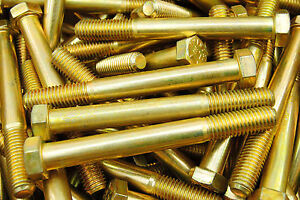 (15) Hex Head Bolts 9/16-12 x 5 Coarse Thread Grade 8 Yellow Zinc USA