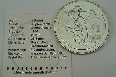 1 Pfund Zypern 1976 Flüchtlingsszene Auflage 25000.........stempelglanz....M237