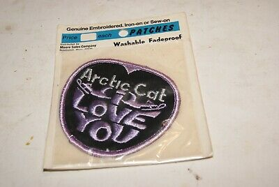 """Vintage Arctic Cat """"I Love You"""" Patch - NOS 1970 - Sealed package"""