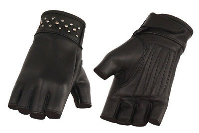 Ladies Leather Driving Gloves - Ladies Leather FINGERLESS  Gel Palm Gloves Motorcycle Biker Driving Womens