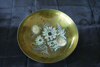 Sascha Brastoff Mid Century Modernist Metal Enamel Flower Plate/Bowl Vintage